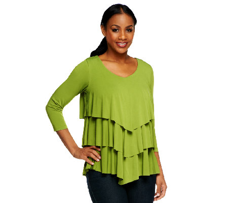 """As Is"" Susan Graver Liquid Knit Chevron Tiered Top with 3/4 Sleeves"