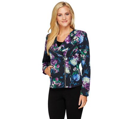 Mark of Style by Mark Zunino Floral Printed Motorcycle Jacket