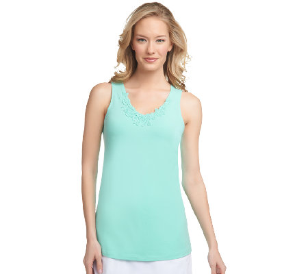 """As Is"" Susan Graver Stretch Cotton Tank Top w/ Crochet Trim"
