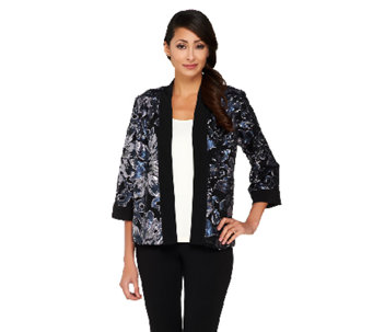 Bob Mackie's Open Front Floral Sequined Jacket - A259457