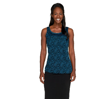 Susan Graver Lace Front & Solid Liquid Knit Back Tank