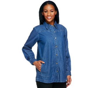 Joan Rivers Petite Denim Boyfriend Shirt w/ Long Sleeves - A259657
