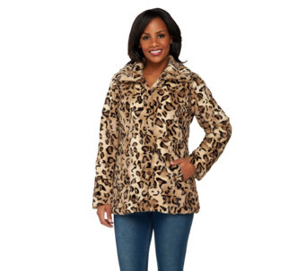 Dennis Basso Animal Printed Textured Faux Fur Coat - A261157