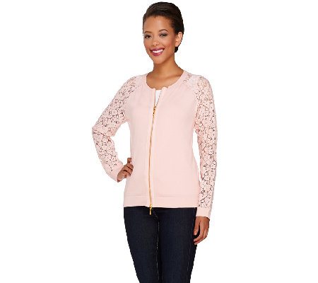 Linea by Louis Dell'Olio Lace Sleeve Zip Front Knit Cardigan
