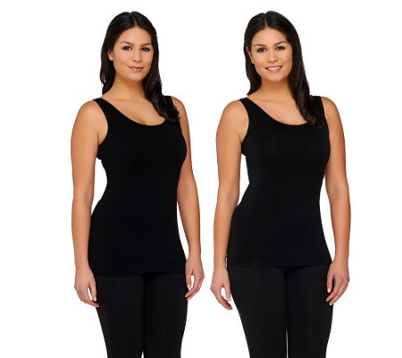 Isaac Mizrahi Live! Set of Two Solid & Texture Seamless Tanks