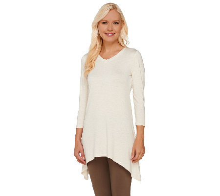 LOGO Layers by Lori Goldstein Melange Knit V-neck Top with Sharkbite Hem