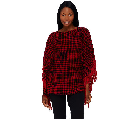 Layers by Lizden Marvelush Plaid Poncho with Fringe