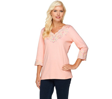 """As Is"" Quacker Factory Lacey Scallop Embroidered 3/4 Sleeve Top"