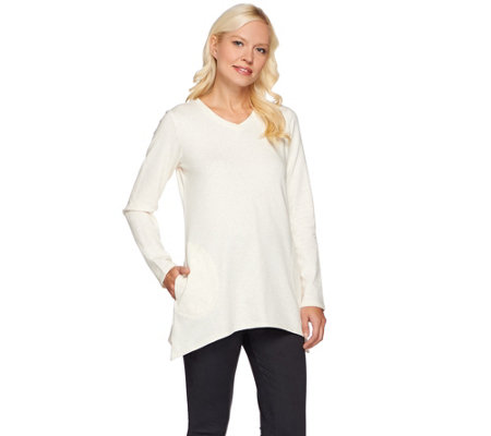 LOGO Lounge by Lori Goldstein French Terry Top with Sharkbite Hem