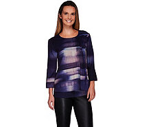 H by Halston Photo Real City Scape Print Double Layer Woven Blouse - A270257
