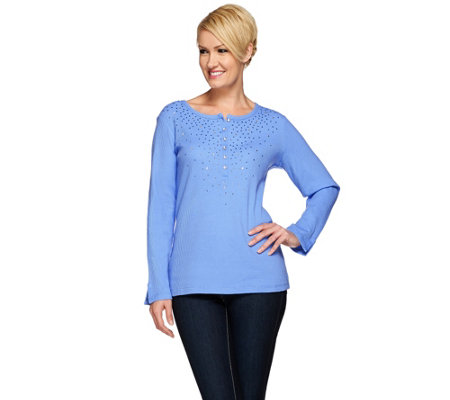Quacker Factory Rhinestone Waffle Knit Long Sleeve Top