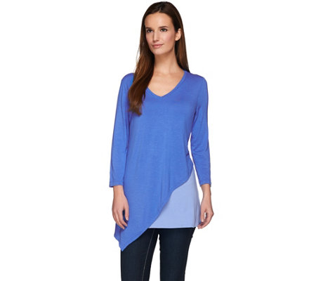 LOGO by Lori Goldstein Color-Block Knit Top with Asymmetric Hem
