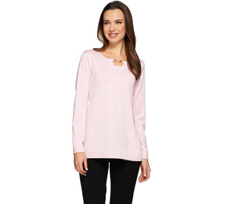 Susan Graver Butterknit Long Sleeve Top with Trimmed Square Keyhole