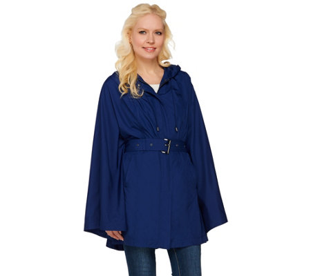 H by Halston Water Repellant Poncho Anorak with Hood