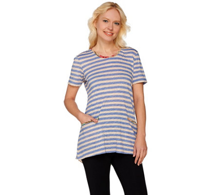 LOGO by Lori Goldstein Striped Knit Top w/ Printed Chiffon Detail