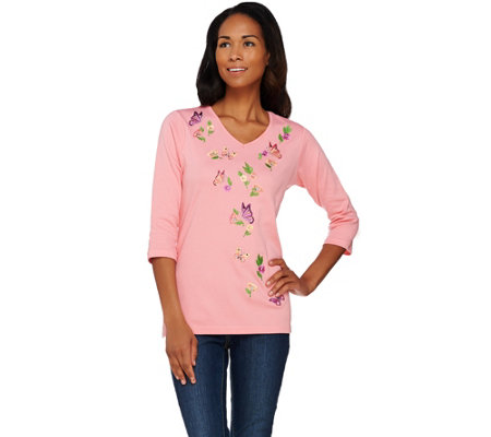 Quacker Factory Butterfly Bliss Embroidered 3/4 Sleeve T-shirt