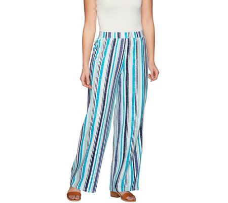 Denim & Co. Beach Vertical Printed Pull-On Pants