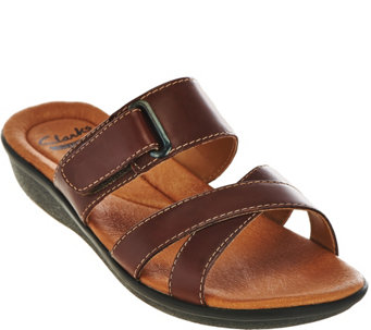 Clarks Leather Adj. Multi-strap Slide Sandals - Manilla Pluma - A275957
