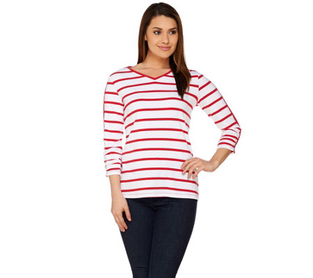 Susan Graver Weekend Striped Cotton Modal V- Neck Top with Snap Detail