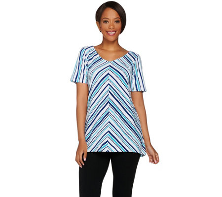 Bob Mackie's Printed Hi-Low Hem Short Sleeve Knit Top