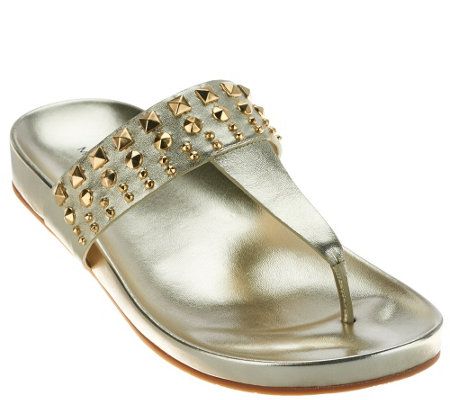 """As Is"" Marc Fisher Leather Thong Sandals with Studs - Samba"