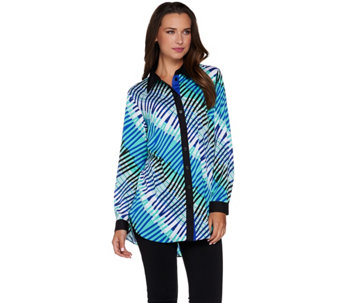 Bob Mackie's Printed Button Front Collared Blouse - A279157