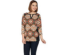 Susan Graver Printed Liquid Knit Top with Keyhole Trim - A279757
