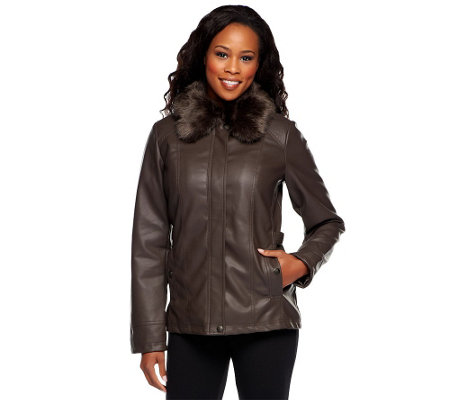 """As Is"" Dennis Basso Faux Lamb Leather Jacket with Removable Faux Fur Collar"