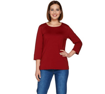 Denim & Co. Active 3/4 Sleeve Round Neck Top with Grommet Details - A280657