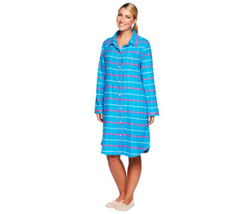 """As Is"" Carole Hochman Plaid Long Sleeve Button Front Sleepshirt - A281857"