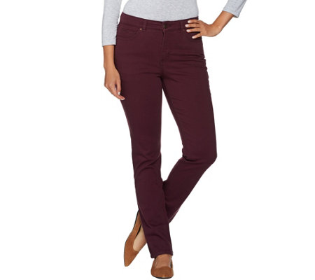 Denim & Co. 5 Pocket Straight Leg Colored Denim Jeans