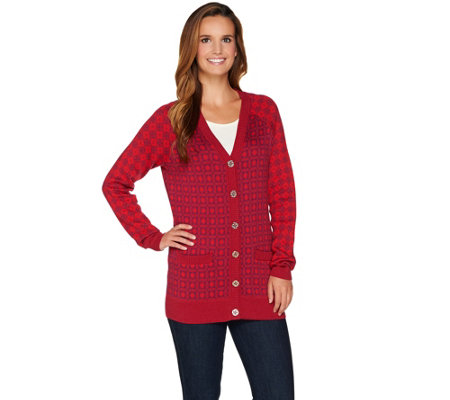 C. Wonder Geo Jacquard Knit Button Front Boyfriend Cardigan