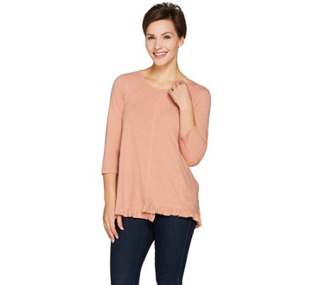 LOGO by Lori Goldstein Cotton Slub Knit Top with Ruffle Hem
