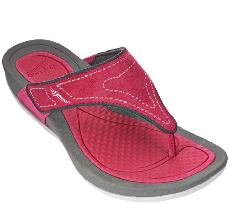 """As Is"" Dansko Leather Thong Sandals - Katy"