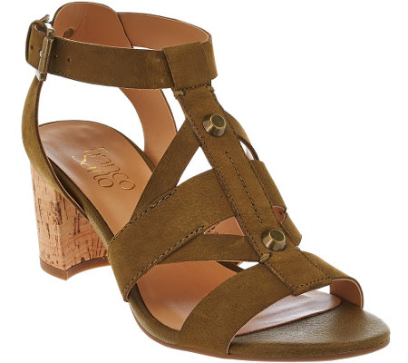 """As Is"" Franco Sarto Leather Multi-strap Sandals w/ Cork Heel - Paloma"