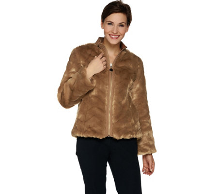 Dennis Basso Chevron Faux Fur Jacket with collar
