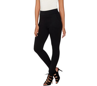 """As Is"" LOGO by Lori Goldstein Regular Twill Knit Pants with Stitch Detail - A285557"