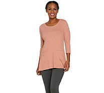 LOGO by Lori Goldstein Rib Slub Knit Top with Daisy Mesh - A286957