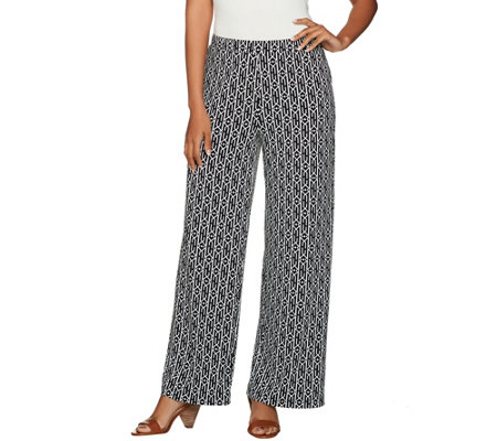 """As Is"" Susan Graver Petite Printed Liquid Knit Pull-On Wide Leg Pants"
