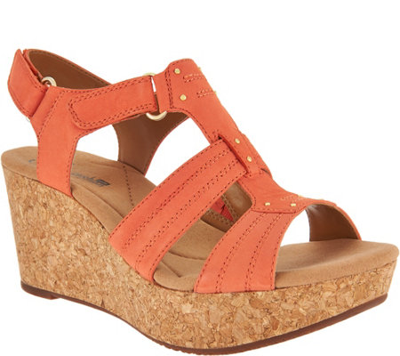 Clarks Leather Triple Adjust Wedge Sandals Annadel