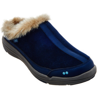 """As Is"" Ryka Faux-Fur Clog Slip-ons - Azure - A290857"