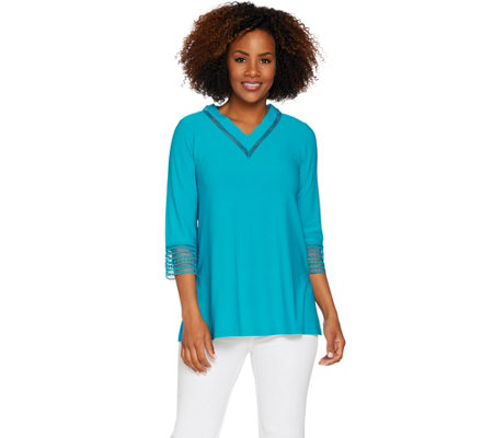 Dennis Basso Caviar Crepe V-Neck Top with Macrame Trim