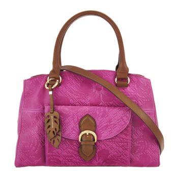 Tignanello Embossed Vintage Leather Satchel Handbag