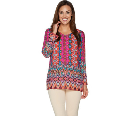 Linea by Louis Dell'Olio V-Neck Printed Pull Over Tunic