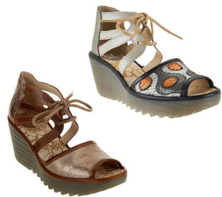 FLY London Leather or Raffia Lace-up Wedges