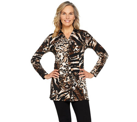 """As Is"" Susan Graver Printed Liquid Knit Button Front Tunic"