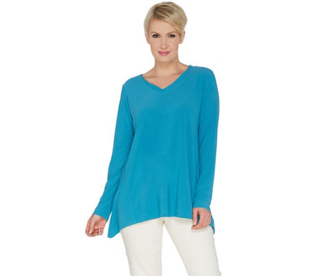 Linea by Louis Dell'Olio Moss Crepe V-neck Swing Top