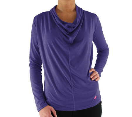 Ryka Knit Draped-Neck T-Shirt