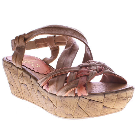 Azura by Spring Step Woven Leather Wedges - Jaques