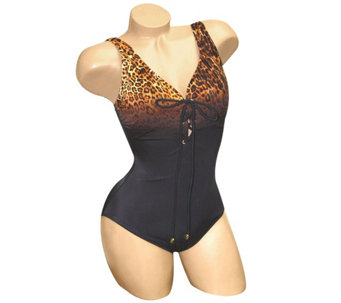 Carol Wior Slimsuit Safari Ombre Leopard Lace-Up Tank - A339357